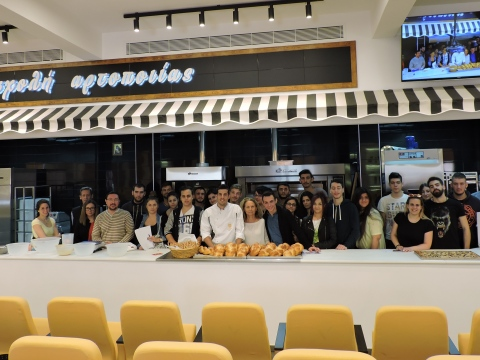 Chef students from the Piraeus Vocational School at the Greek Baking School.
