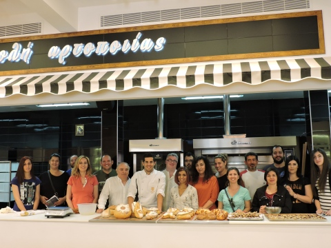 Our Technical Consultant, Dimitris Fragoyiannis with bakery & pastry students of IEK Salamina.