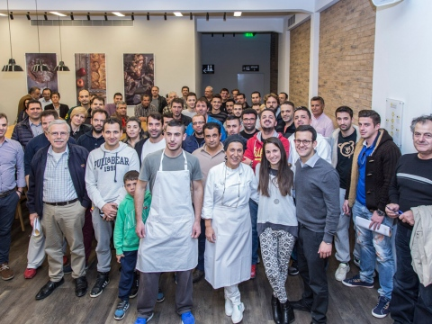 "Lecturer, Eleni Kamarda, with the students of ""Sourdough Breads"" seminar."